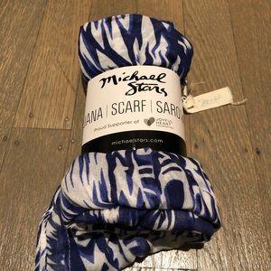 Michael Stars blue white tie dye scarf
